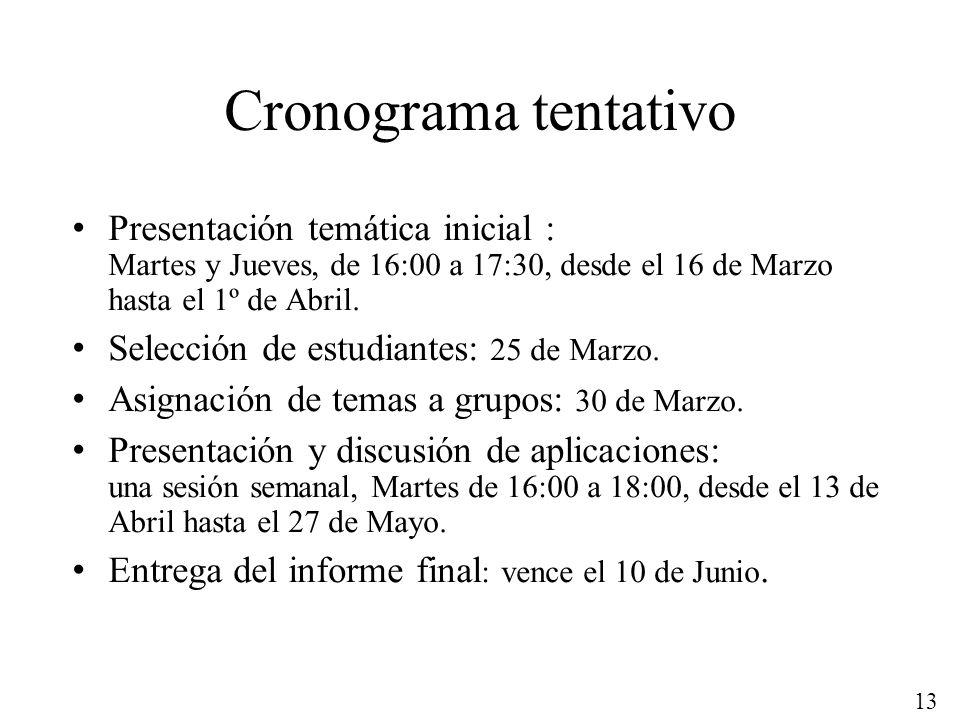 13 Cronograma tentativo Presentación temática inicial : Martes y Jueves, de 16:00 a 17:30, desde el 16 de Marzo hasta el 1º de Abril. Selección de est