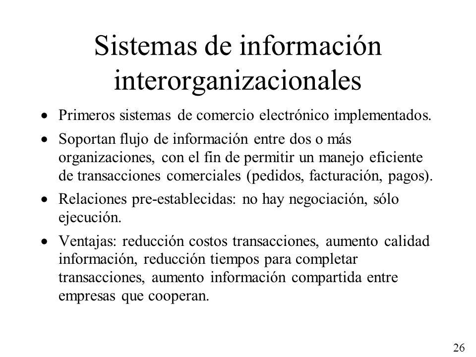 26 Sistemas de información interorganizacionales Primeros sistemas de comercio electrónico implementados. Soportan flujo de información entre dos o má