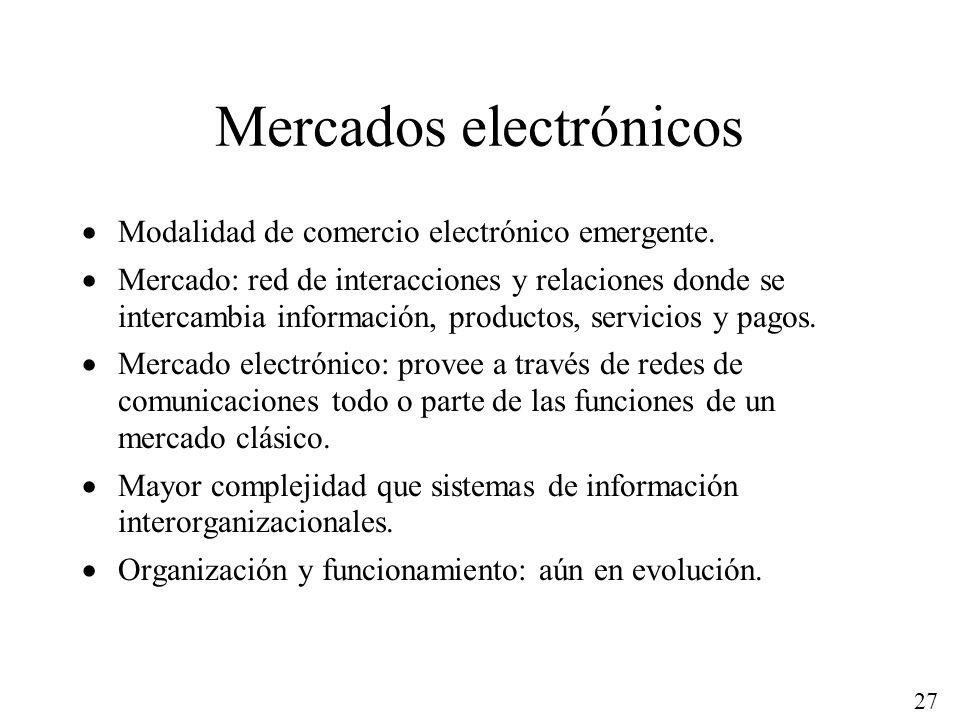 27 Mercados electrónicos Modalidad de comercio electrónico emergente. Mercado: red de interacciones y relaciones donde se intercambia información, pro
