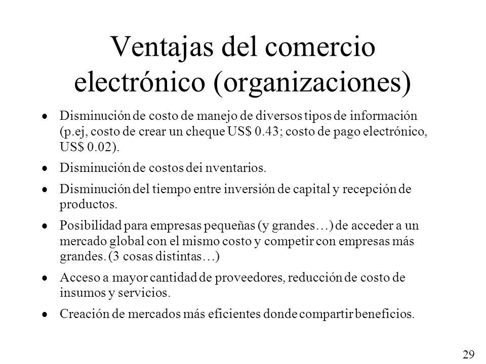 29 Ventajas del comercio electrónico (organizaciones) Disminución de costo de manejo de diversos tipos de información (p.ej, costo de crear un cheque