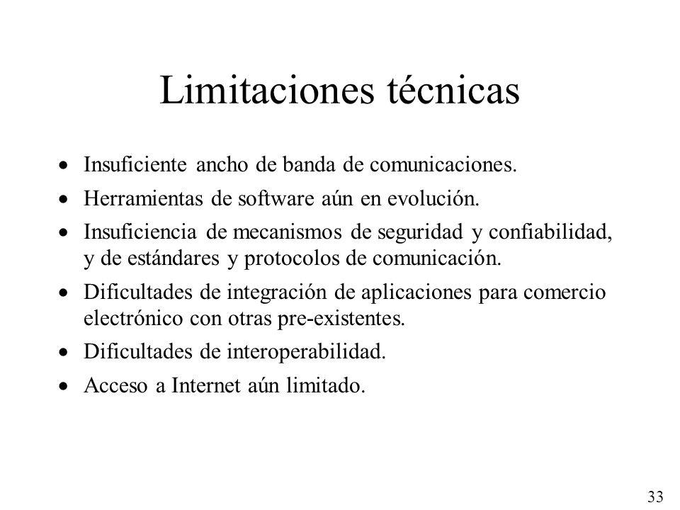 33 Limitaciones técnicas Insuficiente ancho de banda de comunicaciones. Herramientas de software aún en evolución. Insuficiencia de mecanismos de segu