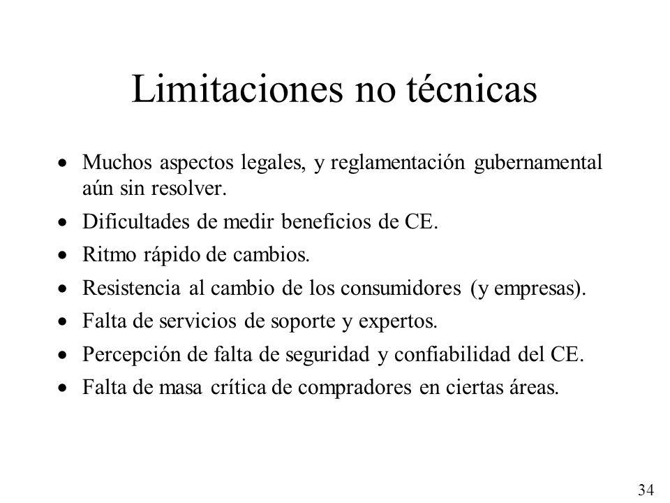 34 Limitaciones no técnicas Muchos aspectos legales, y reglamentación gubernamental aún sin resolver. Dificultades de medir beneficios de CE. Ritmo rá