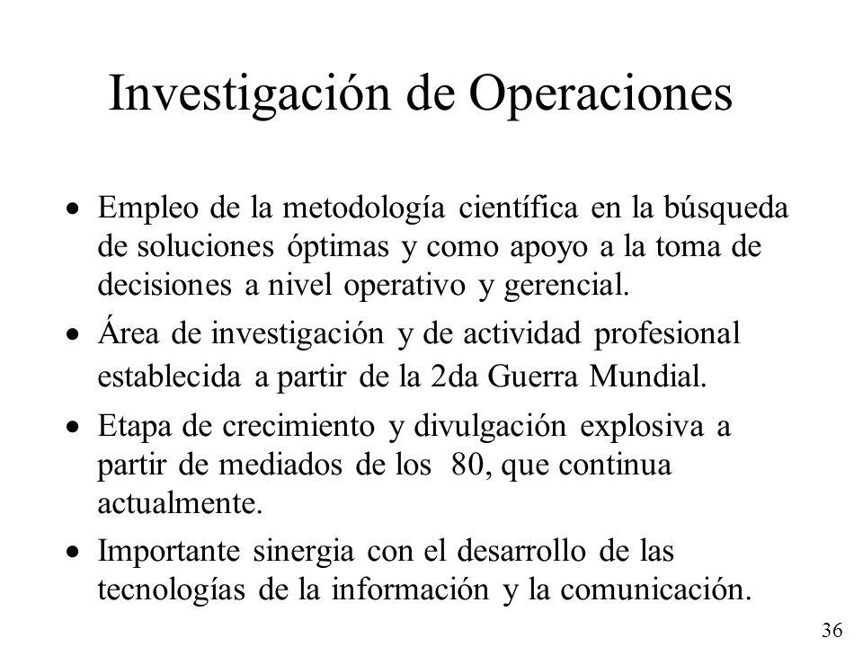 36 Investigación de Operaciones Empleo de la metodología científica en la búsqueda de soluciones óptimas y como apoyo a la toma de decisiones a nivel