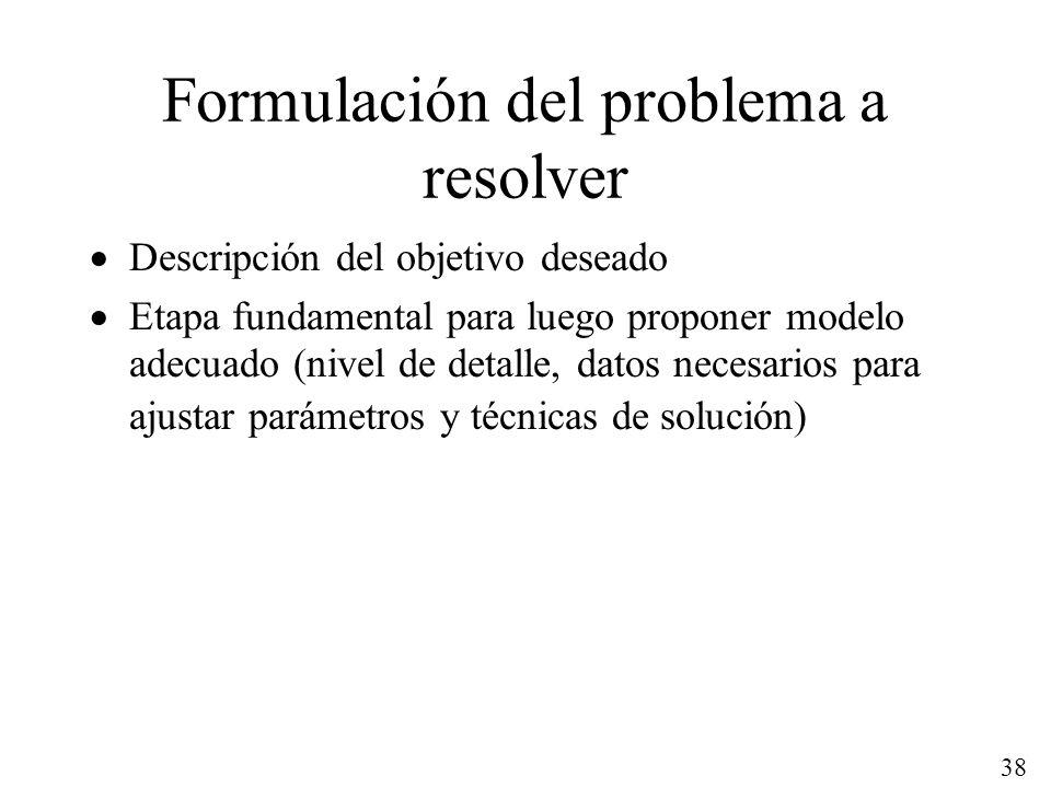 38 Formulación del problema a resolver Descripción del objetivo deseado Etapa fundamental para luego proponer modelo adecuado (nivel de detalle, datos