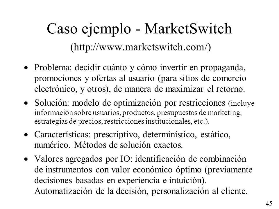 45 Caso ejemplo - MarketSwitch (http://www.marketswitch.com/) Problema: decidir cuánto y cómo invertir en propaganda, promociones y ofertas al usuario