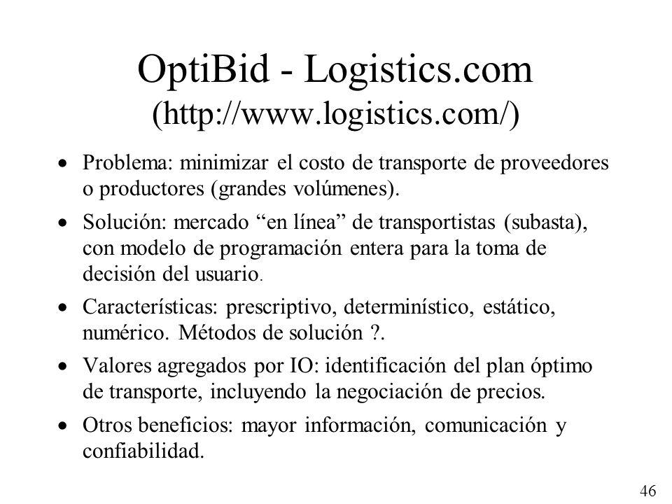 46 OptiBid - Logistics.com (http://www.logistics.com/) Problema: minimizar el costo de transporte de proveedores o productores (grandes volúmenes). So
