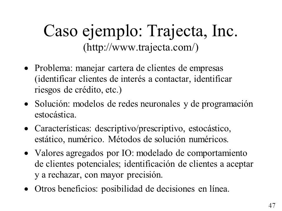 47 Caso ejemplo: Trajecta, Inc. (http://www.trajecta.com/) Problema: manejar cartera de clientes de empresas (identificar clientes de interés a contac