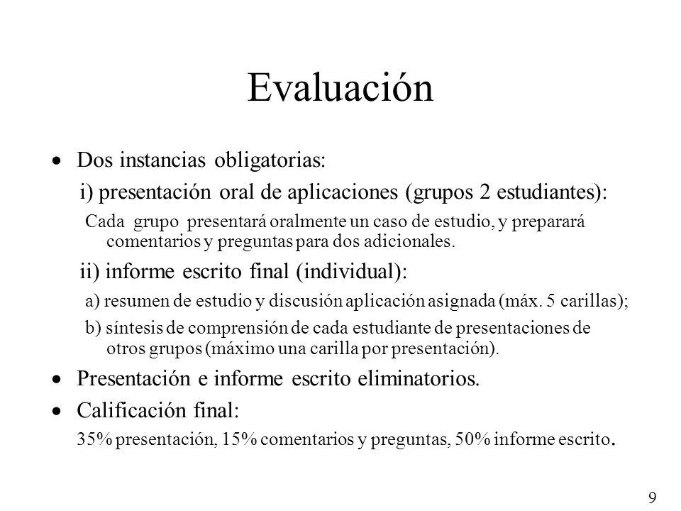 9 Evaluación Dos instancias obligatorias: i) presentación oral de aplicaciones (grupos 2 estudiantes): Cada grupo presentará oralmente un caso de estu