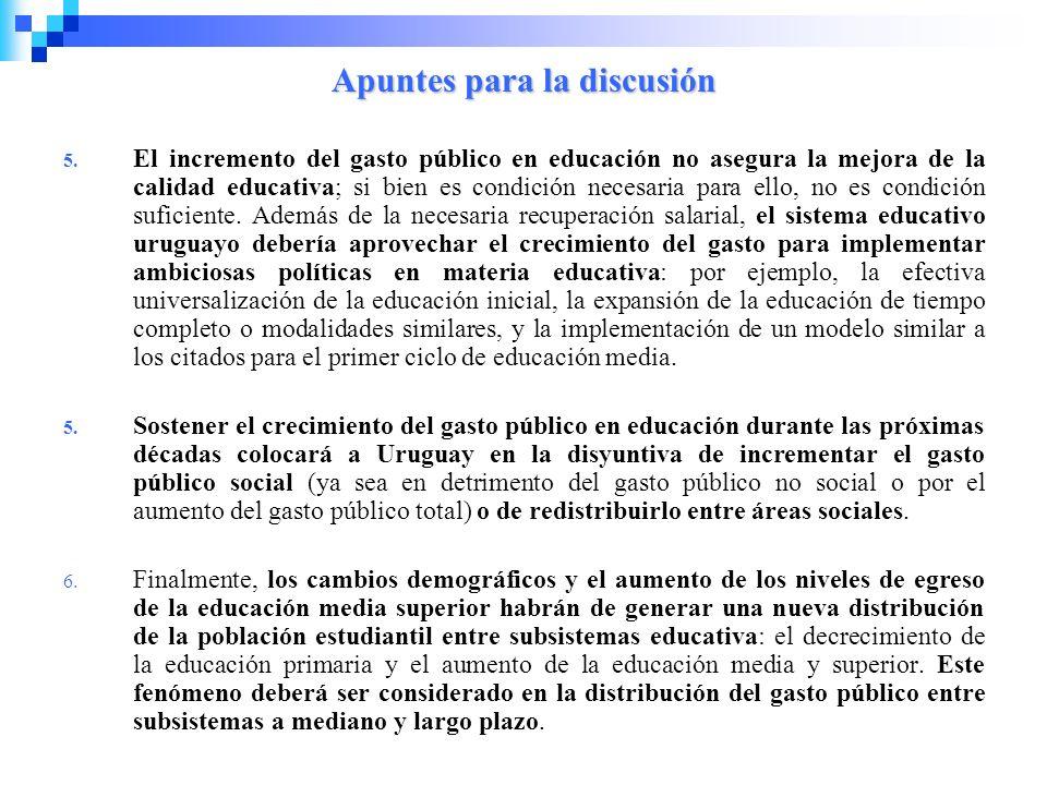 Apuntes para la discusión 5. El incremento del gasto público en educación no asegura la mejora de la calidad educativa; si bien es condición necesaria