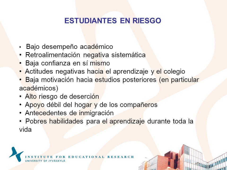 ESTUDIANTES EN RIESGO Bajo desempeño académico Retroalimentación negativa sistemática Baja confianza en sí mismo Actitudes negativas hacia el aprendiz