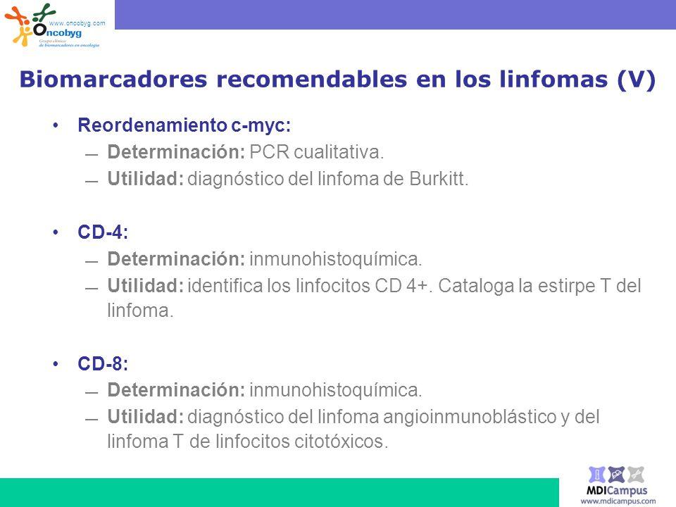 Biomarcadores recomendables en los linfomas (V) Reordenamiento c-myc: Determinación: PCR cualitativa. Utilidad: diagnóstico del linfoma de Burkitt. CD