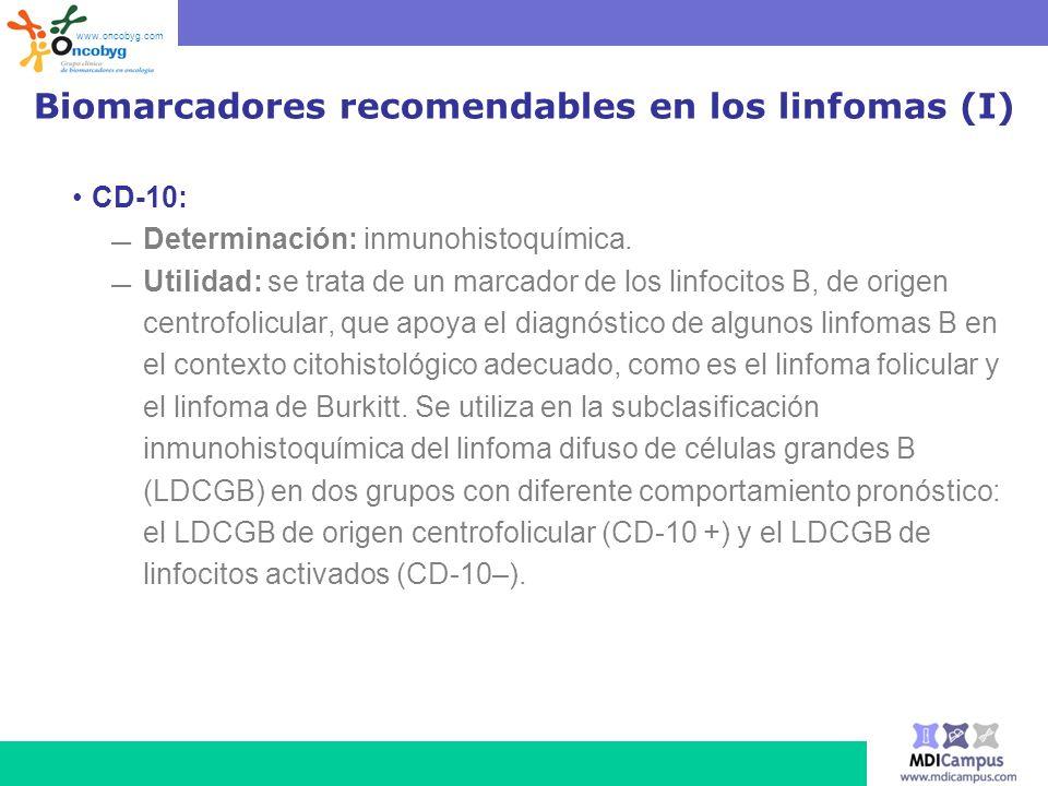 Biomarcadores recomendables en los linfomas (I) CD-10: Determinación: inmunohistoquímica. Utilidad: se trata de un marcador de los linfocitos B, de or