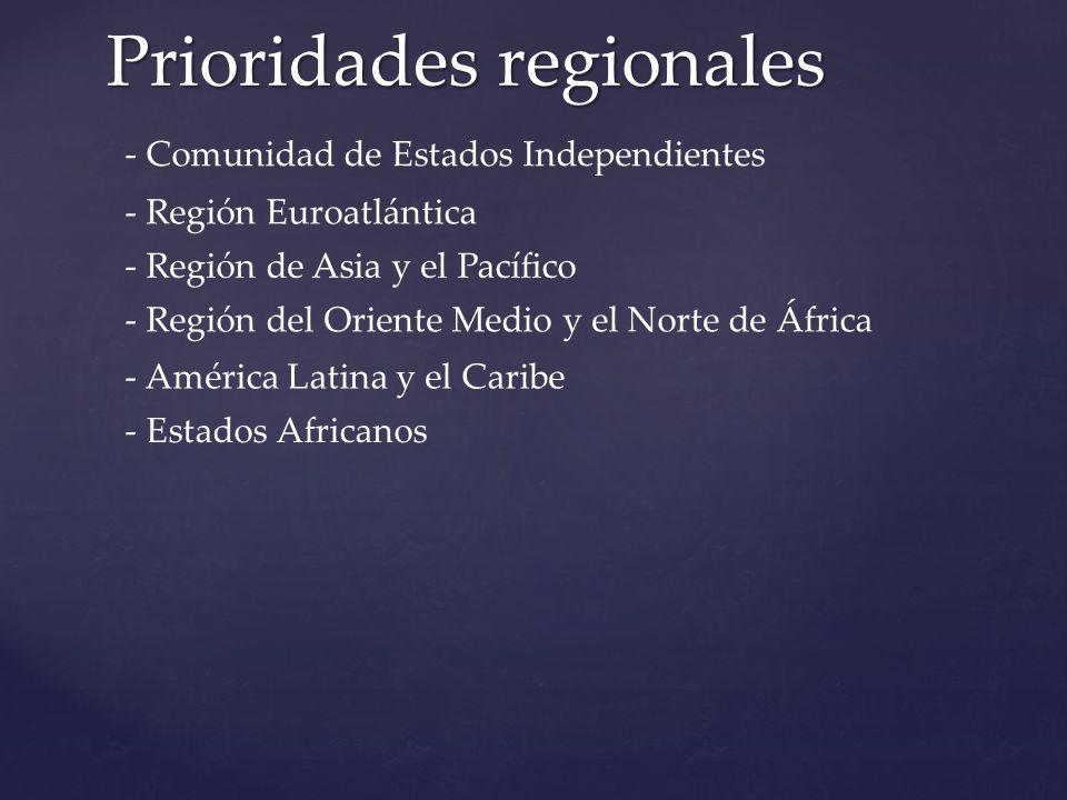 Prioridades regionales - Comunidad de Estados Independientes - América Latina y el Caribe - Región Euroatlántica - Región de Asia y el Pacífico - Región del Oriente Medio y el Norte de África - Estados Africanos
