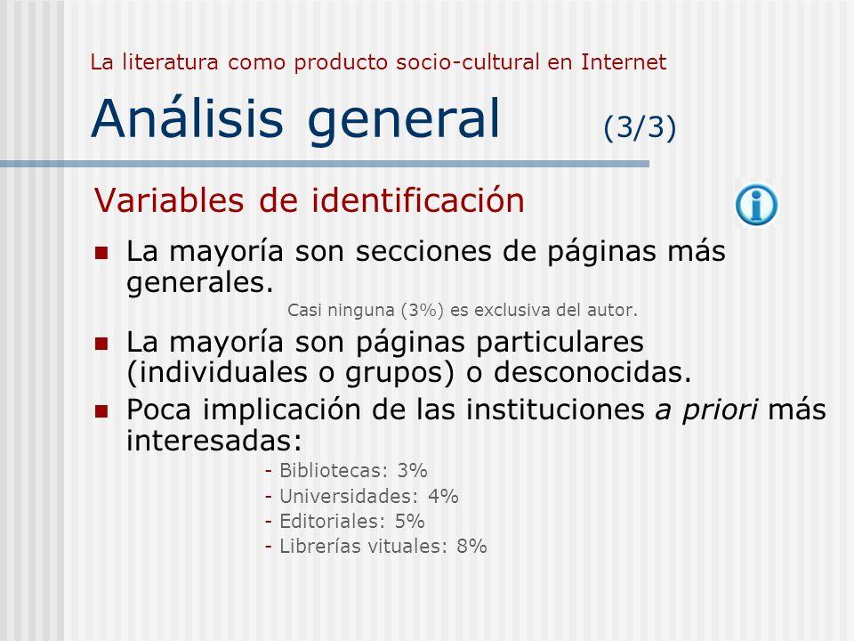 La literatura como producto socio-cultural en Internet Análisis general (3/3) Variables de identificación La mayoría son secciones de páginas más gene