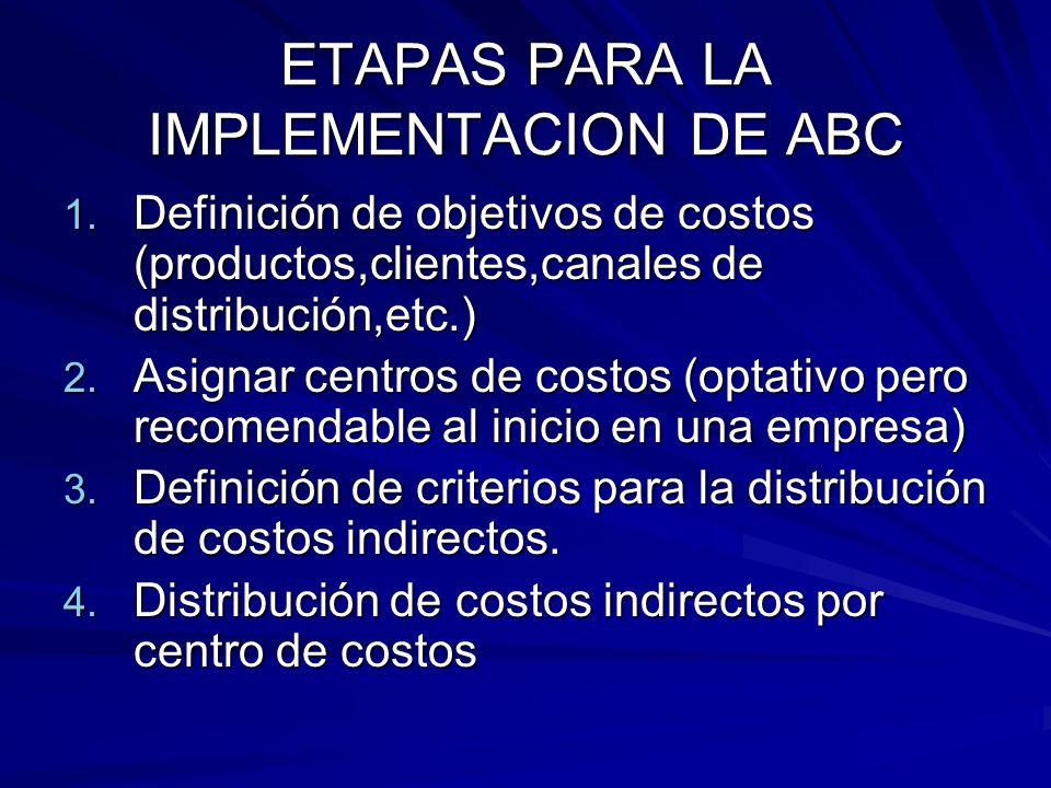 ETAPAS PARA LA IMPLEMENTACION DE ABC 1. Definición de objetivos de costos (productos,clientes,canales de distribución,etc.) 2. Asignar centros de cost