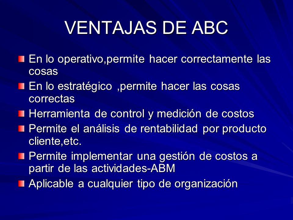 VENTAJAS DE ABC En lo operativo,permite hacer correctamente las cosas En lo estratégico,permite hacer las cosas correctas Herramienta de control y med
