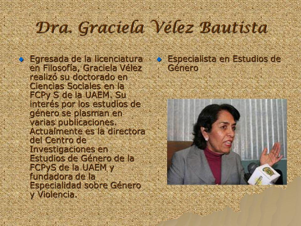 Dra. Graciela Vélez Bautista Egresada de la licenciatura en Filosofía, Graciela Vélez realizó su doctorado en Ciencias Sociales en la FCPy S de la UAE