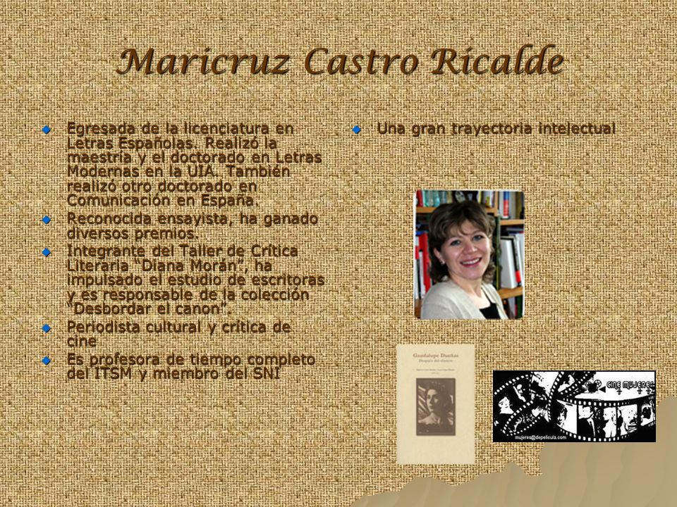 Maricruz Castro Ricalde Egresada de la licenciatura en Letras Españolas. Realizó la maestría y el doctorado en Letras Modernas en la UIA. También real