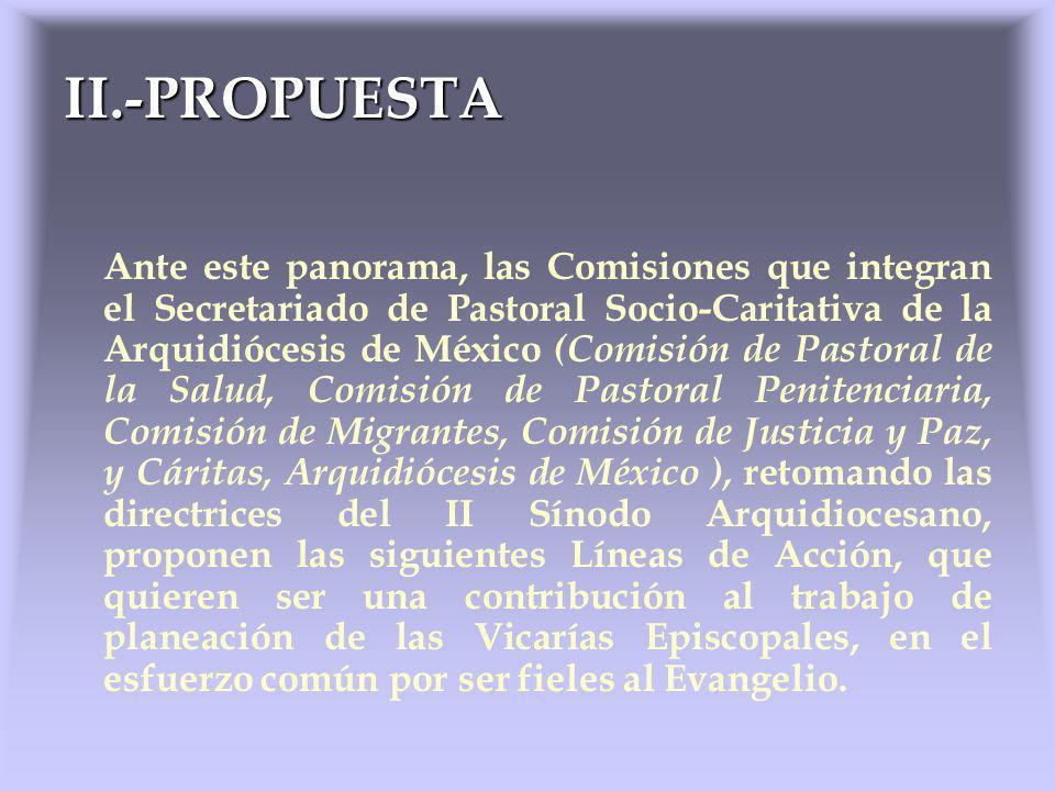 Ante este panorama, las Comisiones que integran el Secretariado de Pastoral Socio-Caritativa de la Arquidiócesis de México (Comisión de Pastoral de la