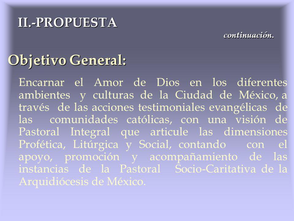 Objetivo General: Encarnar el Amor de Dios en los diferentes ambientes y culturas de la Ciudad de México, a través de las acciones testimoniales evang