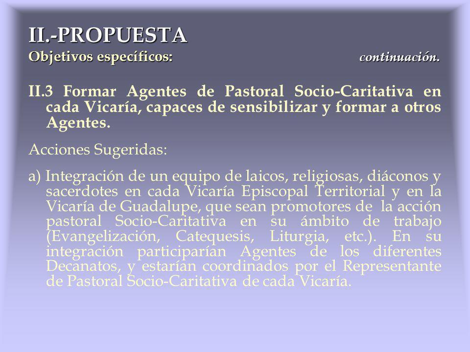 II.3 Formar Agentes de Pastoral Socio-Caritativa en cada Vicaría, capaces de sensibilizar y formar a otros Agentes. Acciones Sugeridas: a) Integración