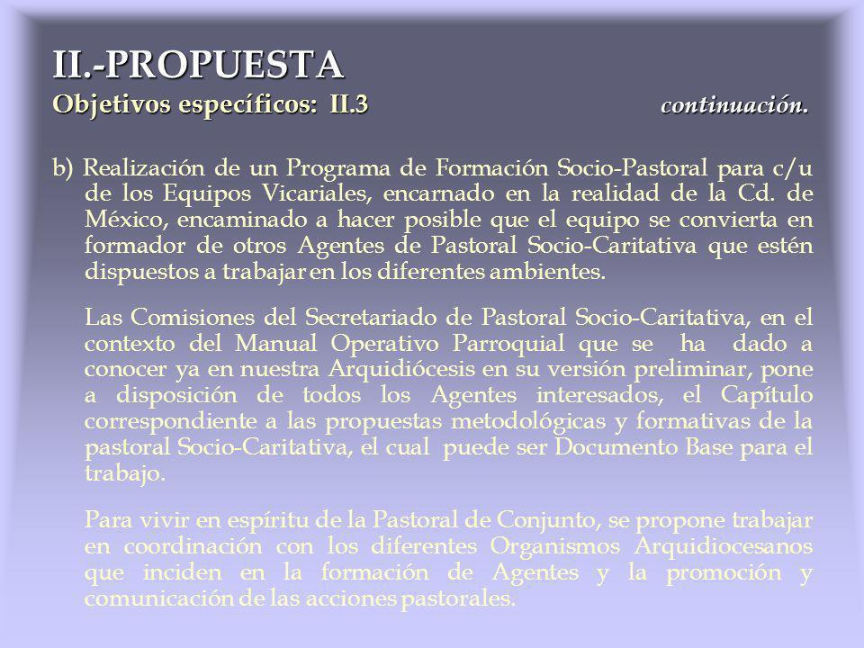 b) Realización de un Programa de Formación Socio-Pastoral para c/u de los Equipos Vicariales, encarnado en la realidad de la Cd. de México, encaminado