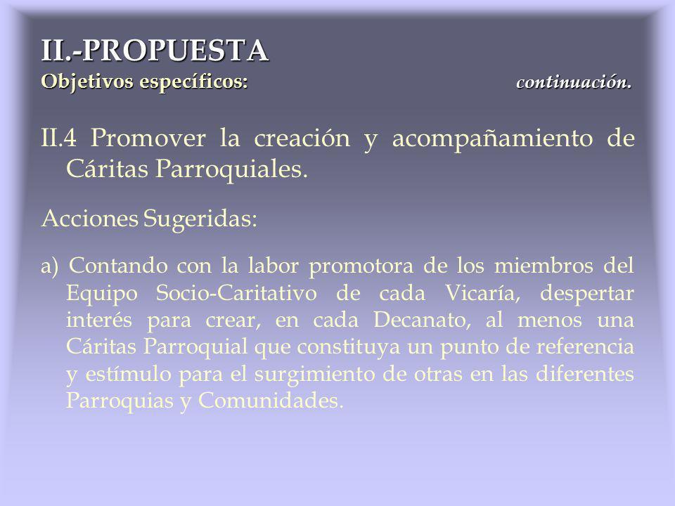 II.4 Promover la creación y acompañamiento de Cáritas Parroquiales. Acciones Sugeridas: a) Contando con la labor promotora de los miembros del Equipo