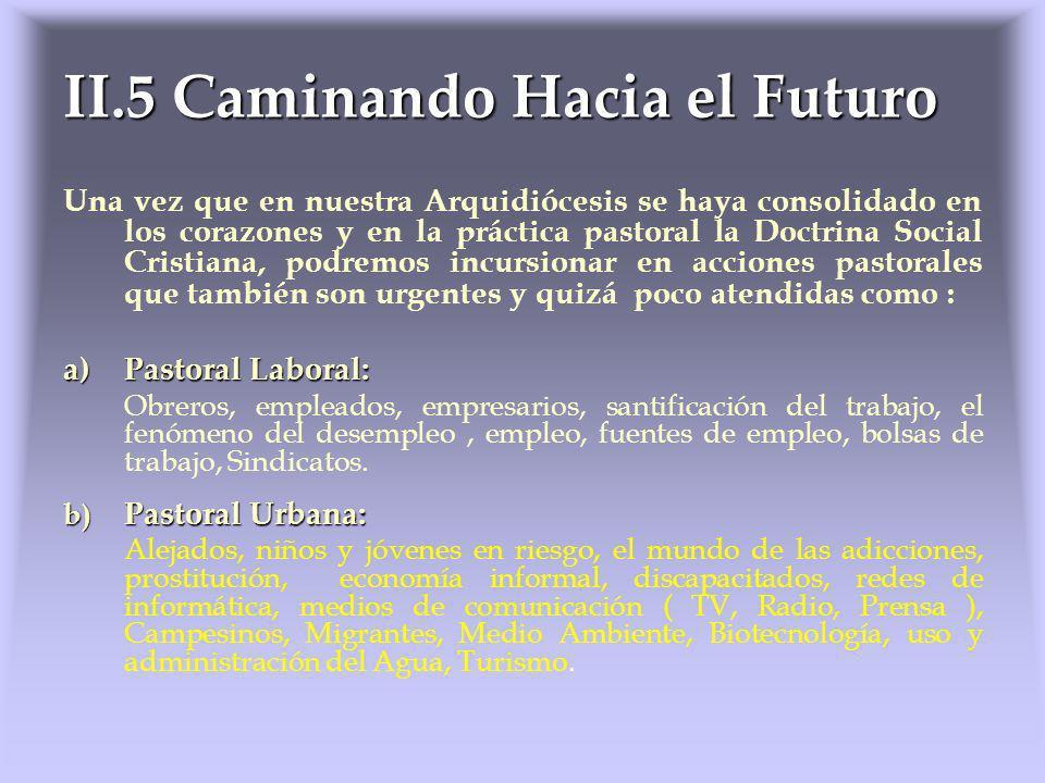 II.5 Caminando Hacia el Futuro Una vez que en nuestra Arquidiócesis se haya consolidado en los corazones y en la práctica pastoral la Doctrina Social