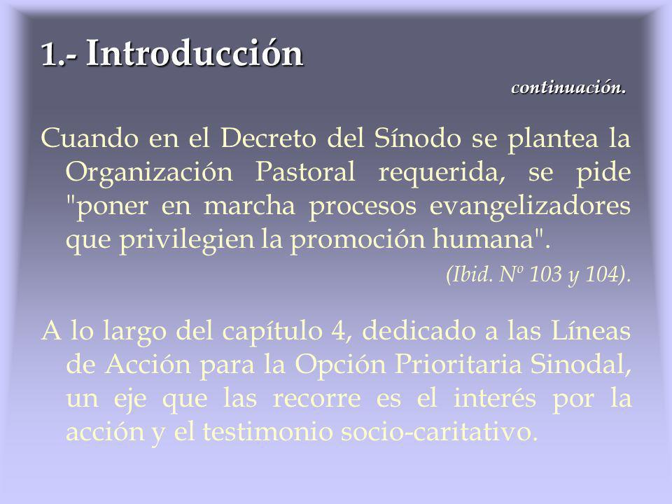 Cuando en el Decreto del Sínodo se plantea la Organización Pastoral requerida, se pide