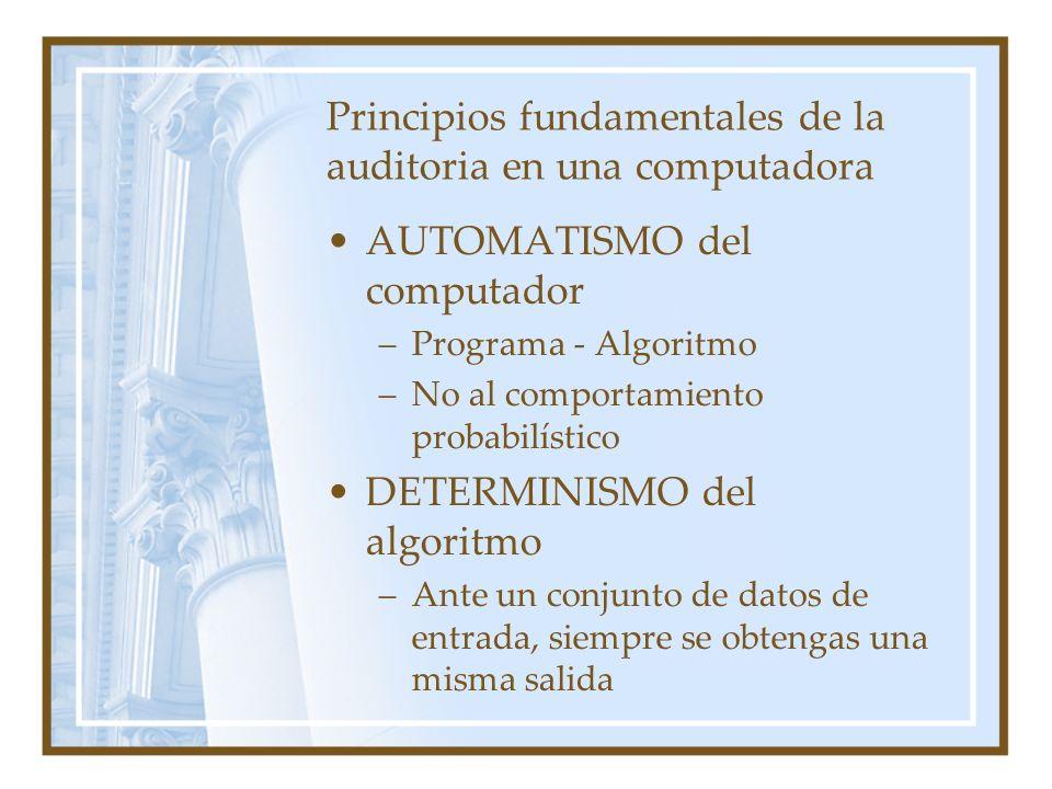 Principios fundamentales de la auditoria en una computadora AUTOMATISMO del computador –Programa - Algoritmo –No al comportamiento probabilístico DETE