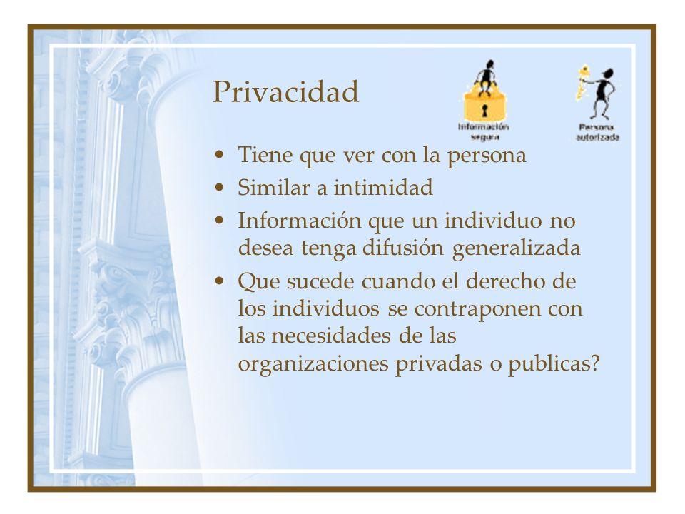 Privacidad Tiene que ver con la persona Similar a intimidad Información que un individuo no desea tenga difusión generalizada Que sucede cuando el der