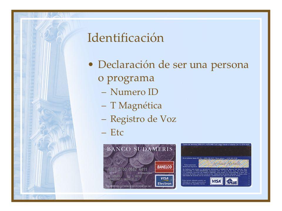 Identificación Declaración de ser una persona o programa –Numero ID –T Magnética –Registro de Voz –Etc