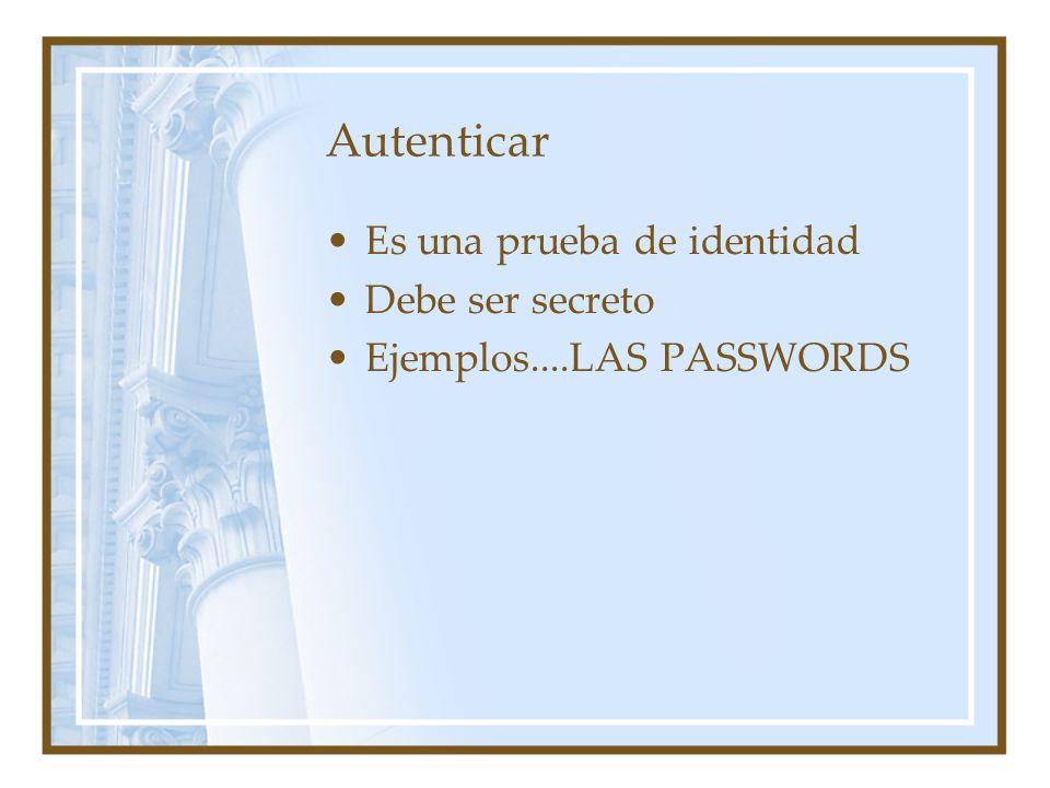 Autenticar Es una prueba de identidad Debe ser secreto Ejemplos....LAS PASSWORDS