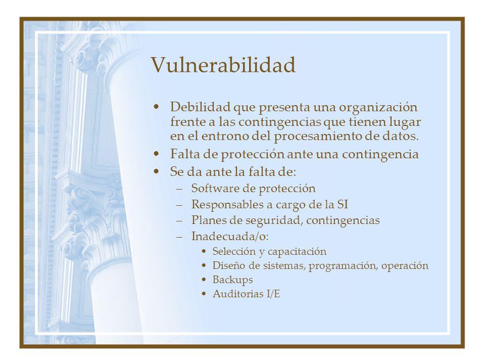 Vulnerabilidad Debilidad que presenta una organización frente a las contingencias que tienen lugar en el entrono del procesamiento de datos. Falta de