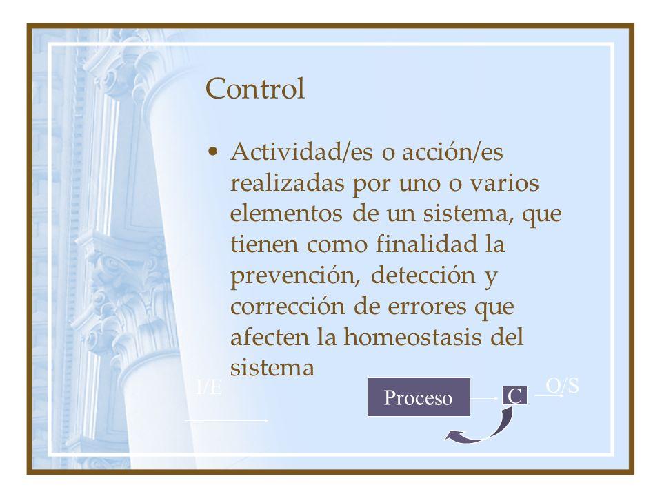 Control Actividad/es o acción/es realizadas por uno o varios elementos de un sistema, que tienen como finalidad la prevención, detección y corrección