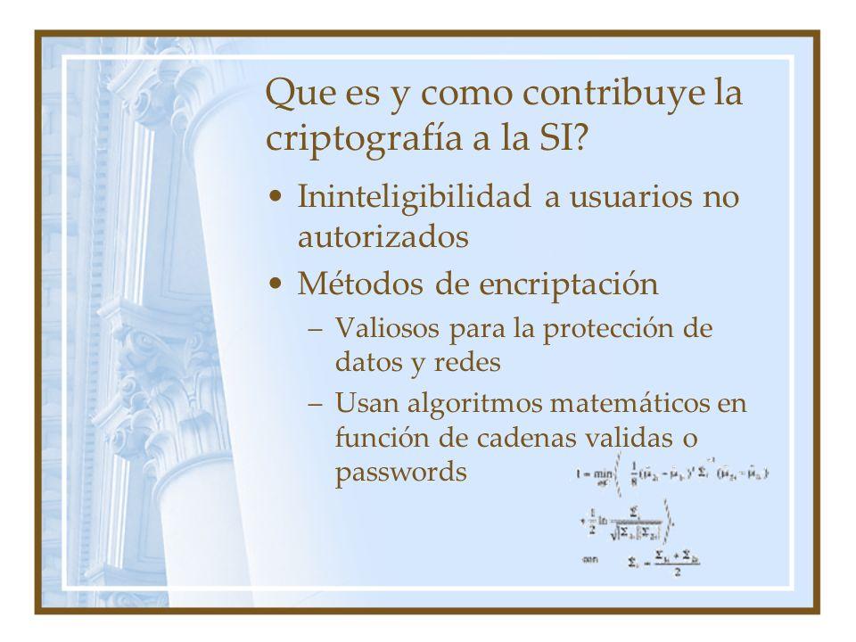 Que es y como contribuye la criptografía a la SI? Ininteligibilidad a usuarios no autorizados Métodos de encriptación –Valiosos para la protección de