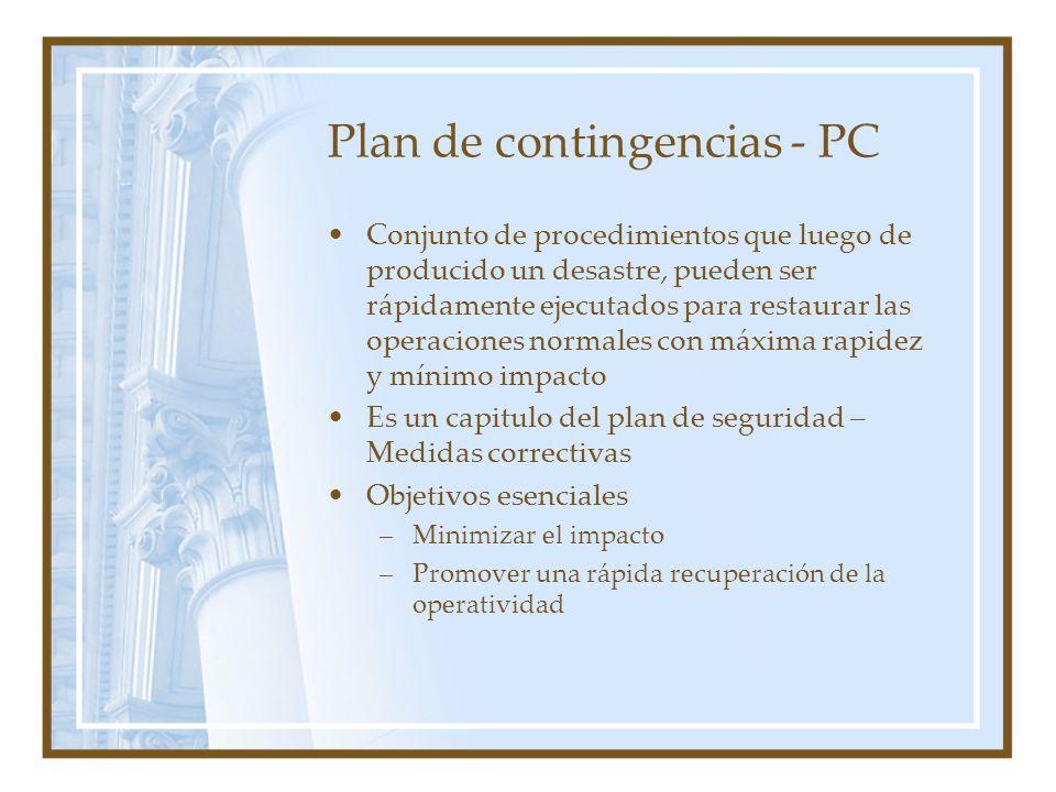 Plan de contingencias - PC Conjunto de procedimientos que luego de producido un desastre, pueden ser rápidamente ejecutados para restaurar las operaci
