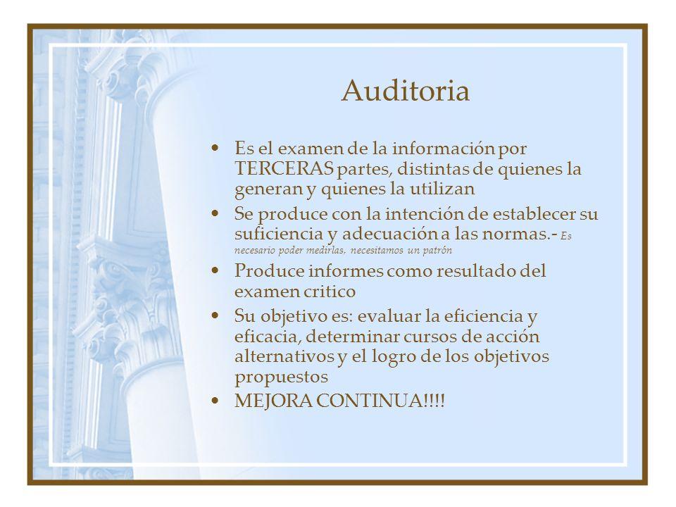 Auditoria Es el examen de la información por TERCERAS partes, distintas de quienes la generan y quienes la utilizan Se produce con la intención de est