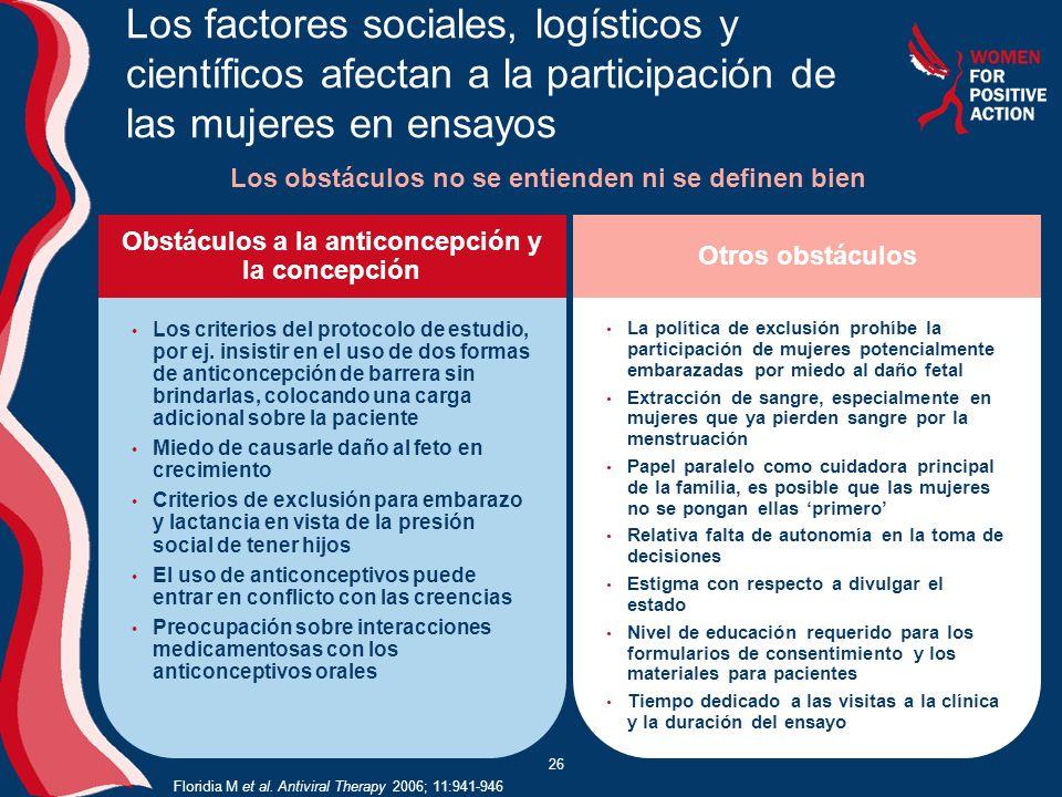 26 Los factores sociales, logísticos y científicos afectan a la participación de las mujeres en ensayos Los obstáculos no se entienden ni se definen bien Floridia M et al.