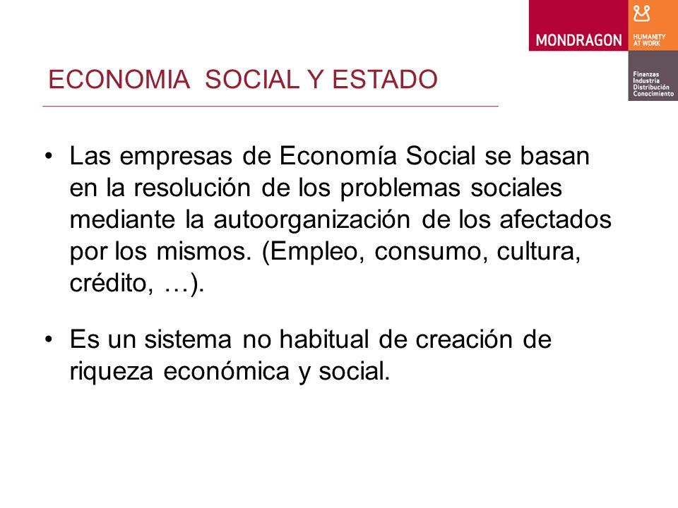 ECONOMIA SOCIAL Y ESTADO Las empresas de Economía Social se basan en la resolución de los problemas sociales mediante la autoorganización de los afectados por los mismos.