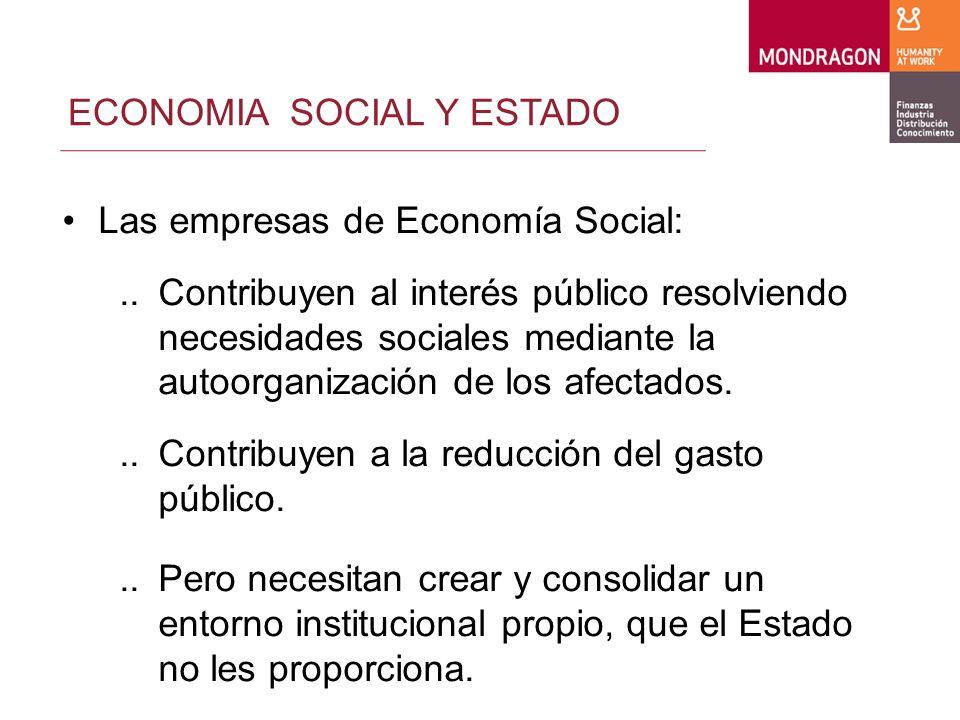 ECONOMIA SOCIAL Y ESTADO Las empresas de Economía Social:..Contribuyen al interés público resolviendo necesidades sociales mediante la autoorganización de los afectados...Contribuyen a la reducción del gasto público...Pero necesitan crear y consolidar un entorno institucional propio, que el Estado no les proporciona.