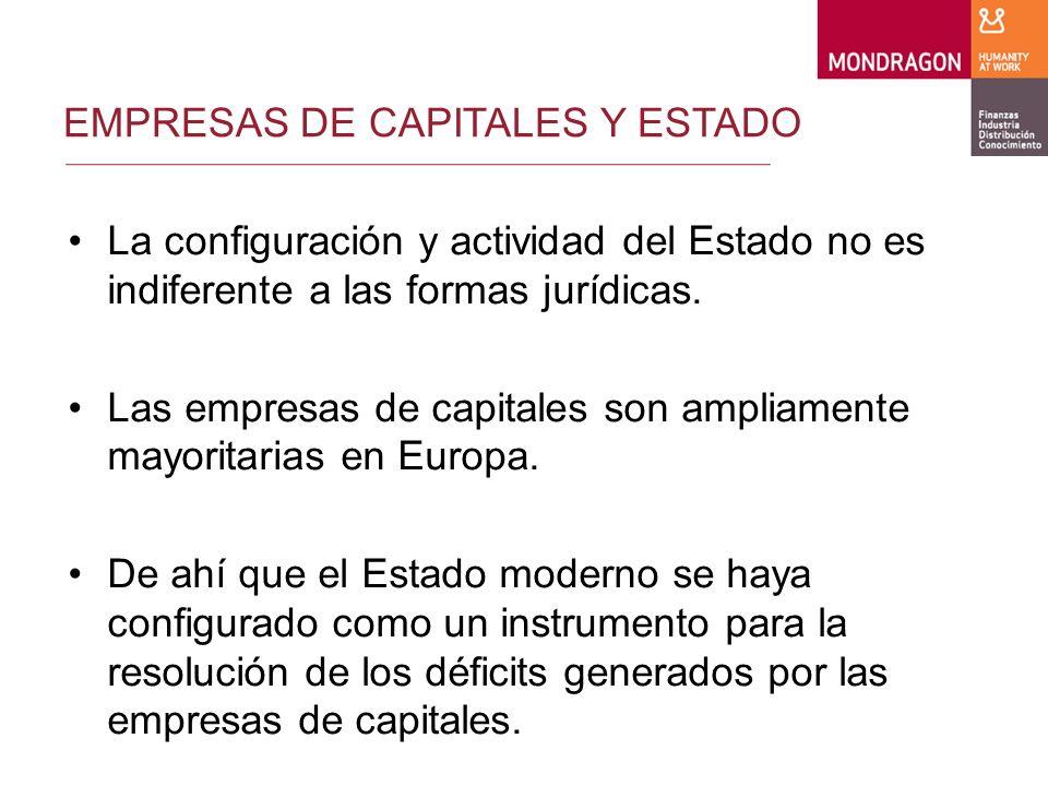 EMPRESAS DE CAPITALES Y ESTADO De esta forma, las empresas de capitales resuelven sus problemas a través del entorno institucional configurado por el Estado (entidades públicas locales, regionales, estatales y europeas).