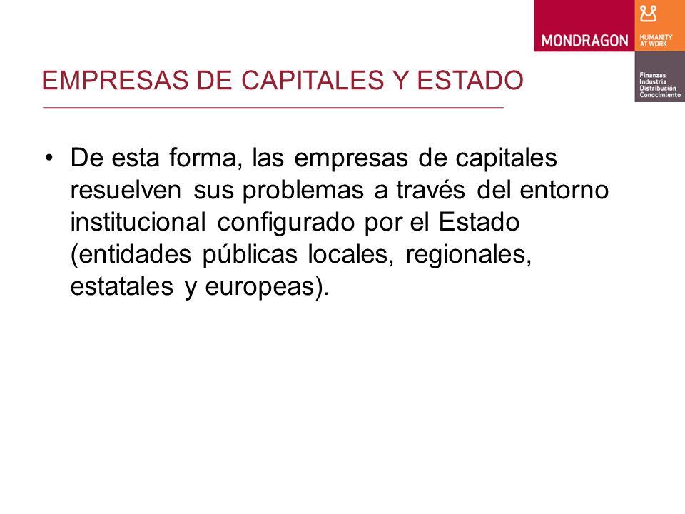 EMPRESAS DE CAPITALES Y ESTADO El Estado está configurado con la estructura y recursos necesarios para atender las necesidades de una sociedad/economía protagonizada por las sociedades de capitales.