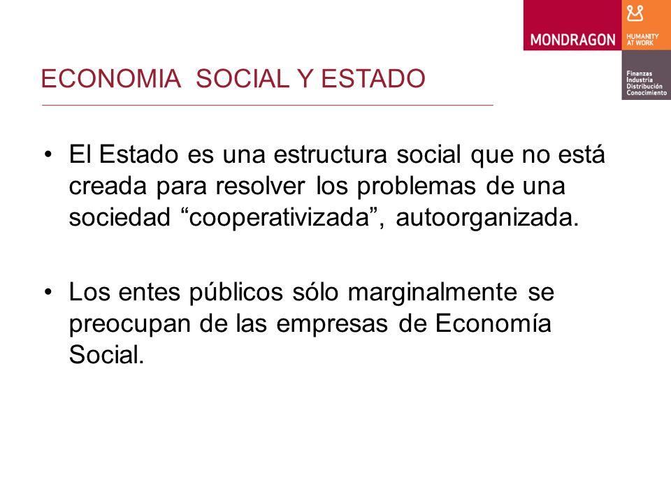 ECONOMIA SOCIAL Y ESTADO El Estado es una estructura social que no está creada para resolver los problemas de una sociedad cooperativizada, autoorganizada.