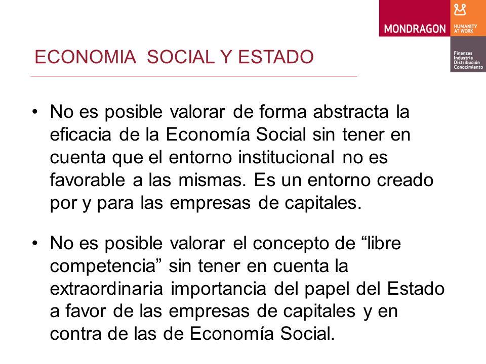 ECONOMIA SOCIAL Y ESTADO Las empresas de Economía Social también necesitan un entorno institucional adecuado.