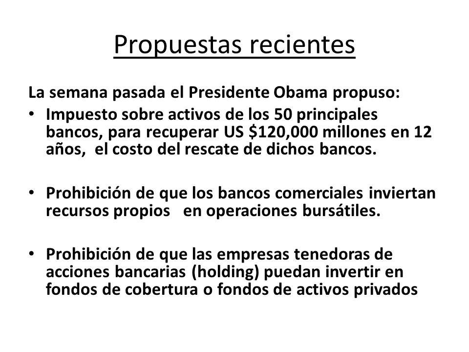 Propuestas recientes La semana pasada el Presidente Obama propuso: Impuesto sobre activos de los 50 principales bancos, para recuperar US $120,000 mil