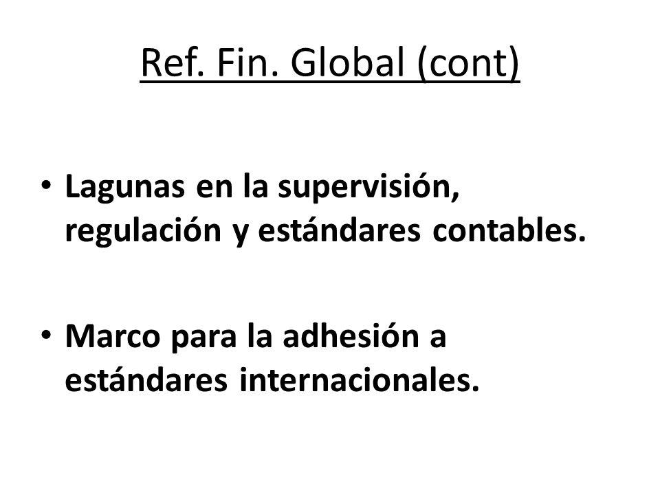 Ref. Fin. Global (cont) Lagunas en la supervisión, regulación y estándares contables. Marco para la adhesión a estándares internacionales.
