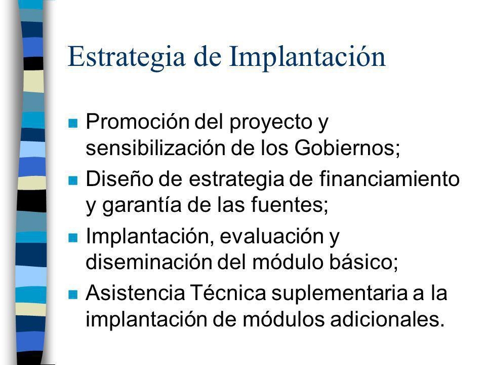 Estrategia de Implantación n Promoción del proyecto y sensibilización de los Gobiernos; n Diseño de estrategia de financiamiento y garantía de las fue