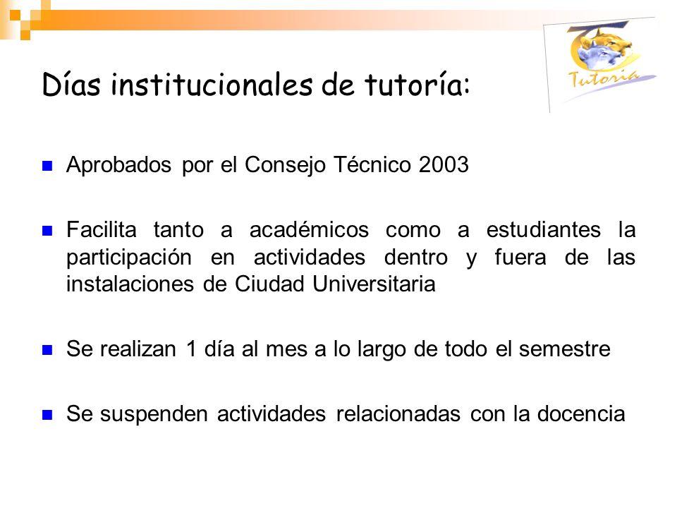 Días institucionales de tutoría: Aprobados por el Consejo Técnico 2003 Facilita tanto a académicos como a estudiantes la participación en actividades