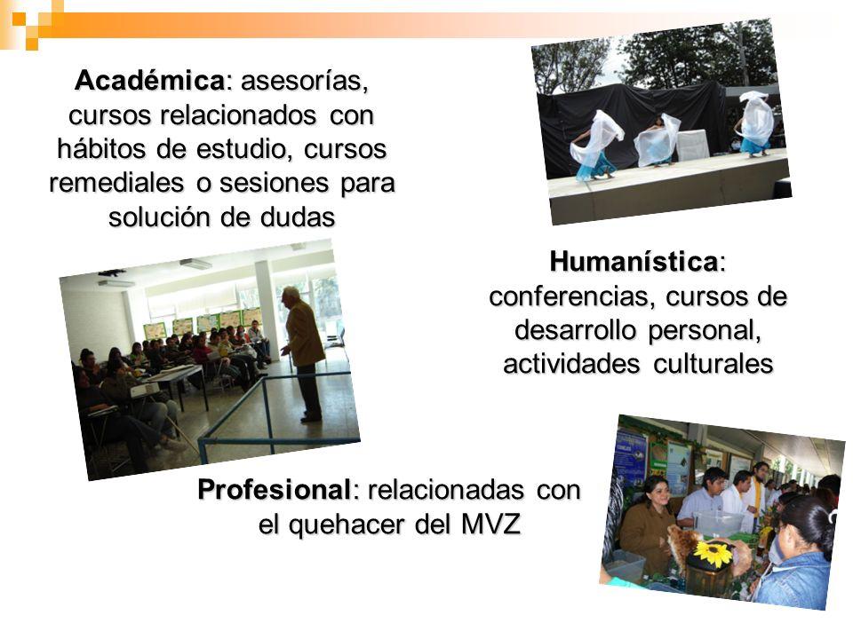 Profesional: relacionadas con el quehacer del MVZ Académica: asesorías, cursos relacionados con hábitos de estudio, cursos remediales o sesiones para